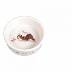 Keramikskål, hvid m. motiv