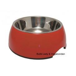 Hunde/katteskål Royal melamin/stål rød